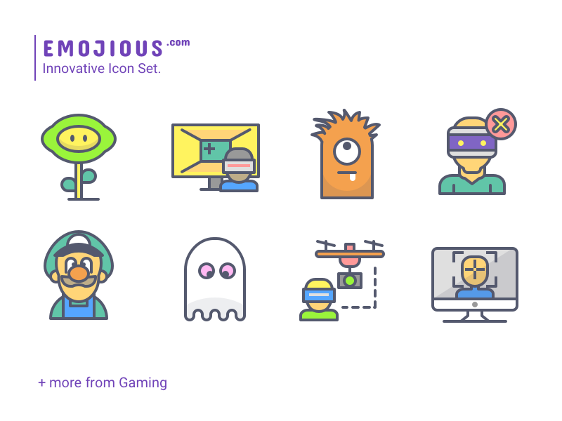 Emojious - Color Style smile character game entertain outline premium icons