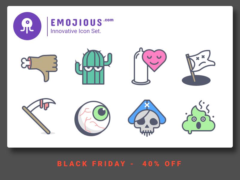Emojious - Black Friday black friday cactus devil shit pirate like dislike condom nasty illustration icon premium freebie icons
