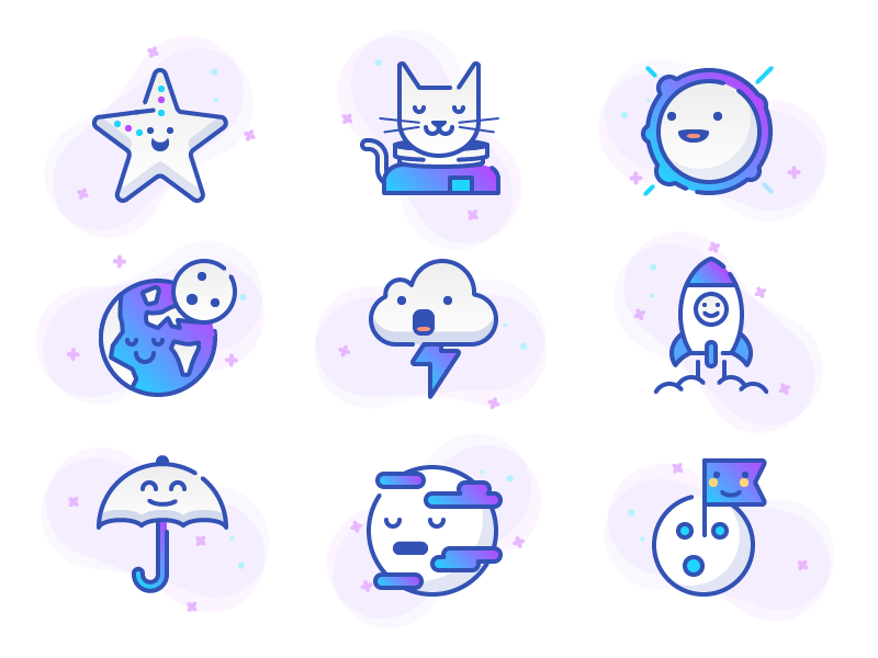 Space & Weather stroke white gradient weather space illustration icons