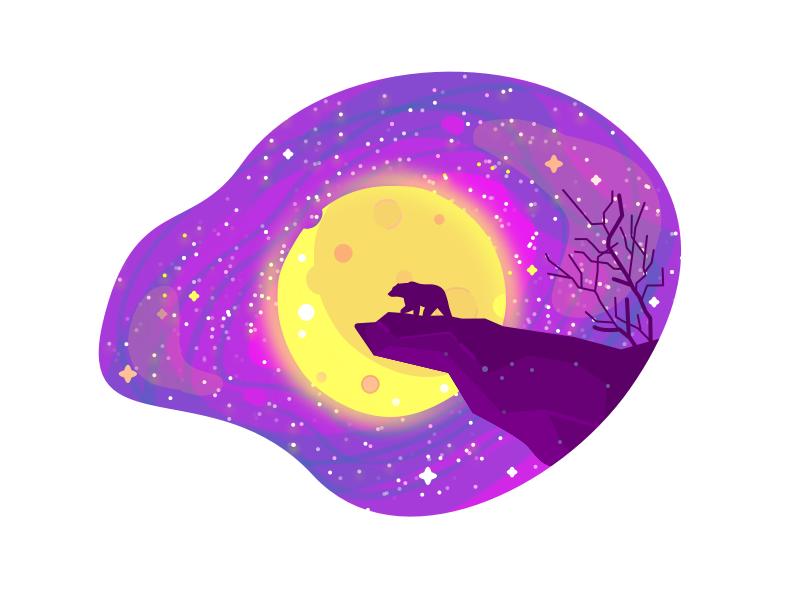 Bear Night moon space stars night bear illustration icons