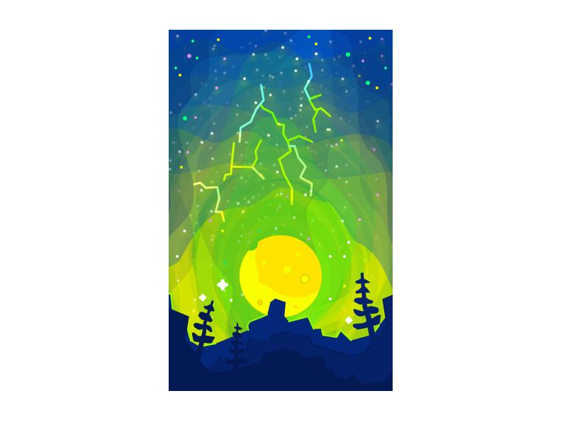 Thunders night moon storm thunder forest mountain landscape illustration
