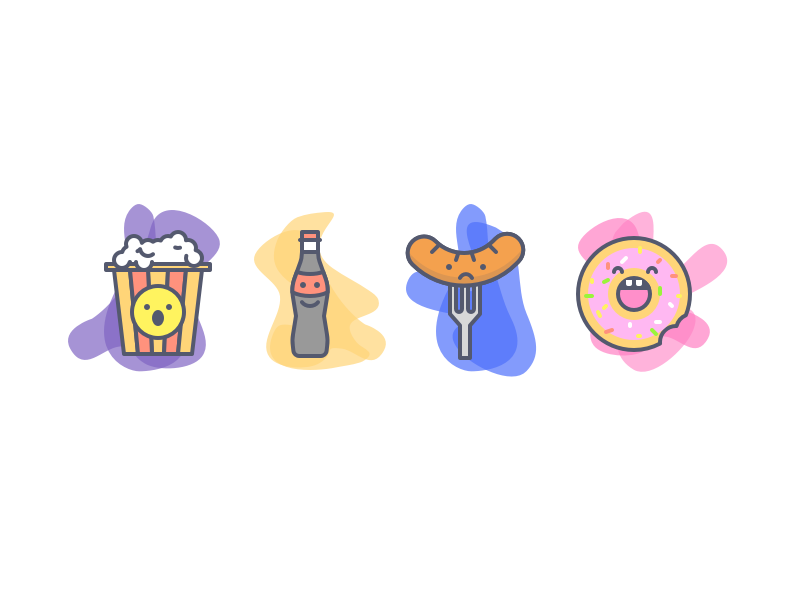 Movie Night Icons donut grill cornflake sausage coke cookie illustration icons