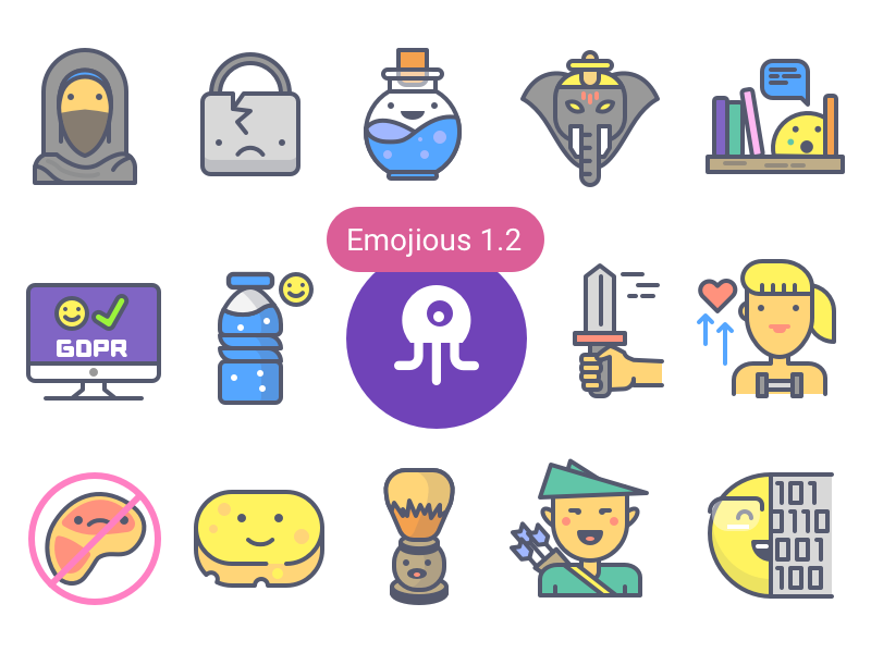 Emojious 1.2 Update + Discount character health fitness security fantasy consistency colour premium illustration icons
