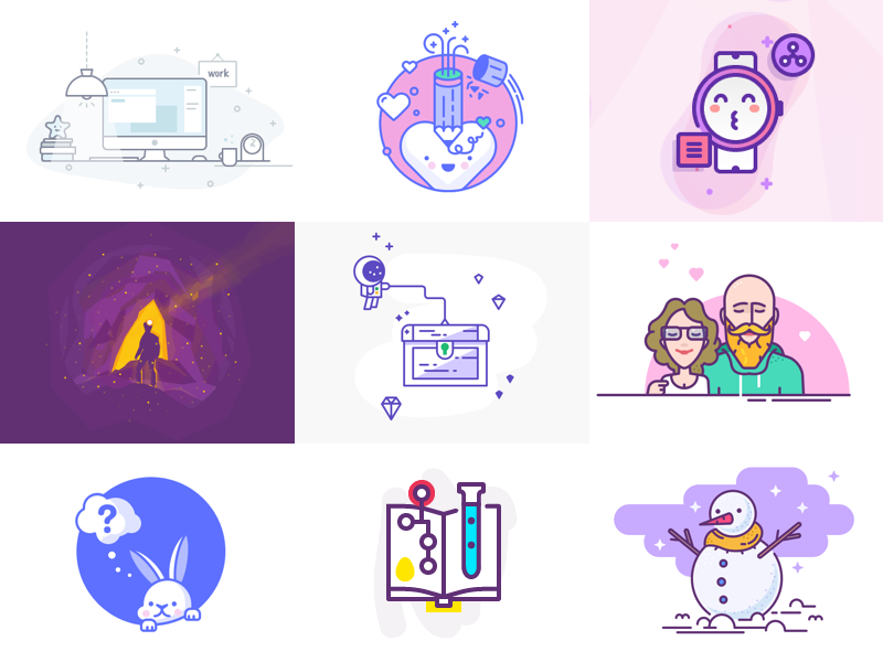 Best shots of 2018 vector line character best shots illustration icons