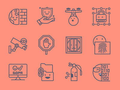 Security Icons prison firewall gdpr protect line illustration icons emoticons emoji