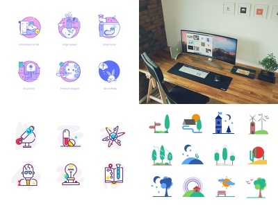 2018 Year in Review desk worskapce flat icon illustration icons