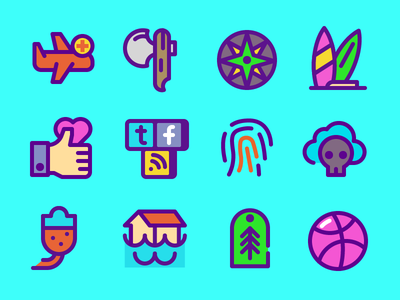 Thick Icons strong bold color stroke thick outline icon