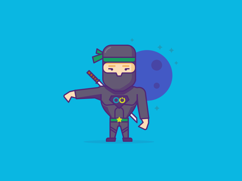 Ninja Character illustration moon ninja character