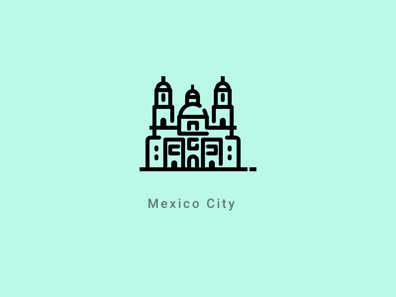 Mexico City landmark line stroke illustration church cathedral icon