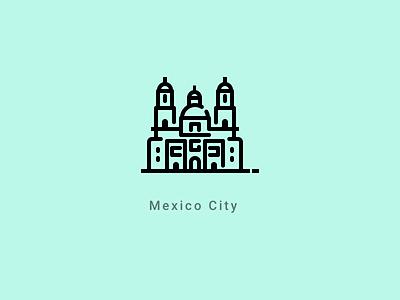 Mexico City landmark line stroke illustration church cathedral icon