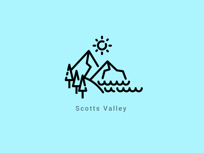 Scotts Valley illustration icon sun forest tree ocean water mountains