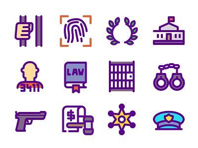 Law & Justice Icons gun police cop prisoner prison fingerprint