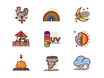 Weather Icons sunset tornado eclipse earthquake house wind moon cloud icons