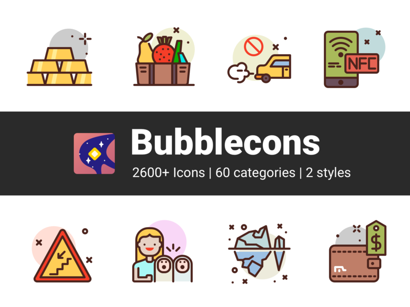 Bubblecons IconSet fruit food mobile wallet ice family payment ecology finance premium icons