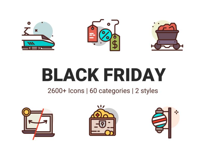 Black Friday Icons party treasure gold money transfer discount coal train premium illustration icons