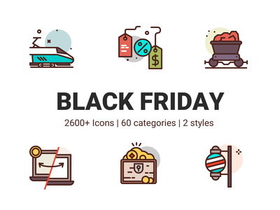 Black Friday Icons party treasure gold money transfer discount coal train premium illustration icons
