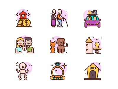 Family Icons cat dog pet old man rings wife husband wedding travel car baby