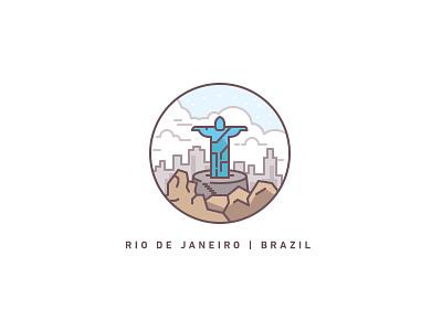 Rio de Janeiro jesus christ city illustration icon mountain city statue jesus travel