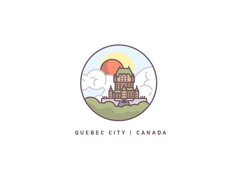 Quebec travel landscape citadel castle illustration icons