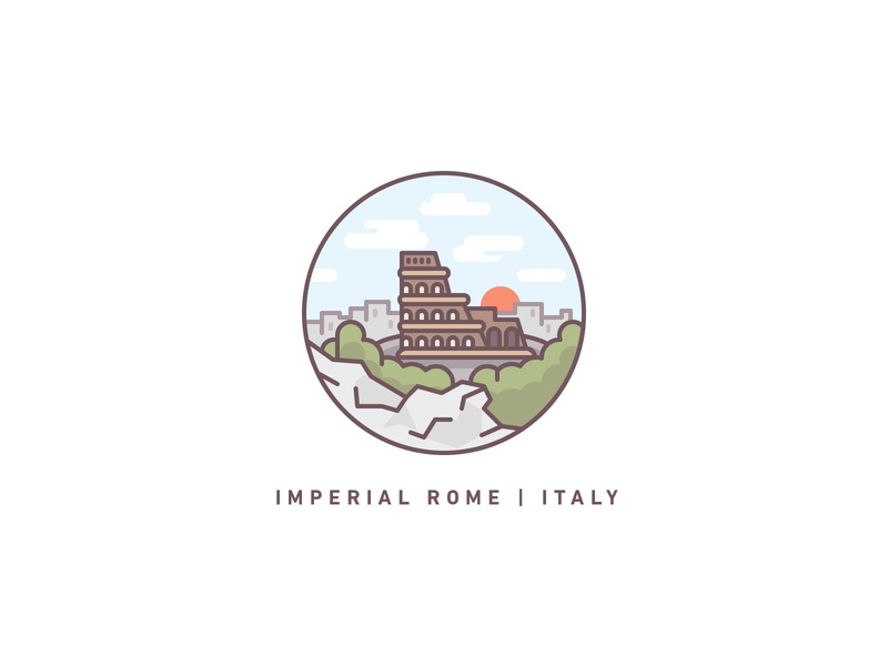 Rome colosseum rome italy travel illustration icons