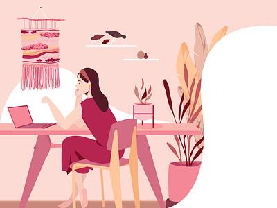 Book illustration wip portfolio illustrator adobe illustration character book illustration flat design vector illustration girl sitting at desk design vector
