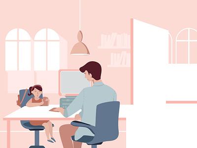 Playing the accountant vector pink portfolio pastel portrait charecter design kids illustration design illustrator childhood stories childrens illustration vector illustration