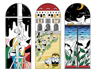 Windows Stories portfolio adobe character illustration vector illustrator design exposition