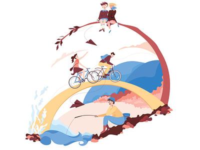 Bridges game childrens illustration fishing rod vector illustration adobe illustrator palette blue illustration illustrator vector design bicycle