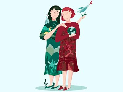 sustainable friendship girl portrait pastel mural portfolio vector illustration vector art vector design character illustration sustainability ecology