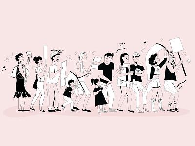 Protest art illustration vector pastel design portrait people illustration character design illustrator vector design vector art pink adobe illustrator art protest