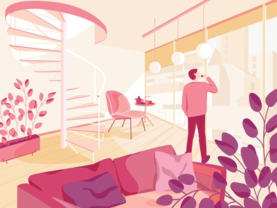 Coffee with a view portfolio pink pastel character design design character adobe adobe illustrator illustrator vector vectorart vector illustration landscape design landscape illustration