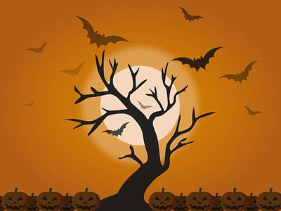 Halloween Theme evening tree pumpkins pumpkin moon night mode oranges halloween 2020 halloween flyer 2020 design 2020 trends halloween design halloween dark ui flat design flat  design vector illustration
