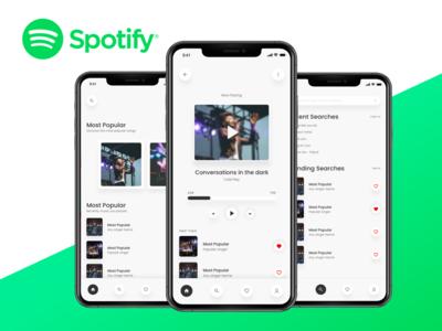 Spotify Music App new app design green app green app design white ui white user interface ui sketch file ios mockup iso app app