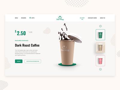 Star Mug vector logo starbucks coffe landing page website ispiration colorful 3d adobexd ux design ui design webdesign design