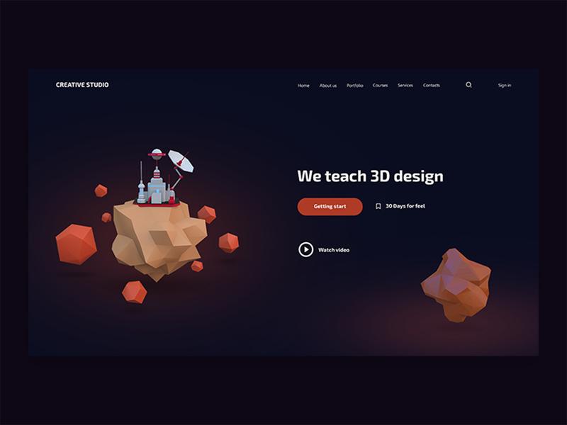 3D Studio website awesome design typography graphicdesign vector concept design illustration webdesign 3d landingpage design creative  design inspiration website uiux design ux ui