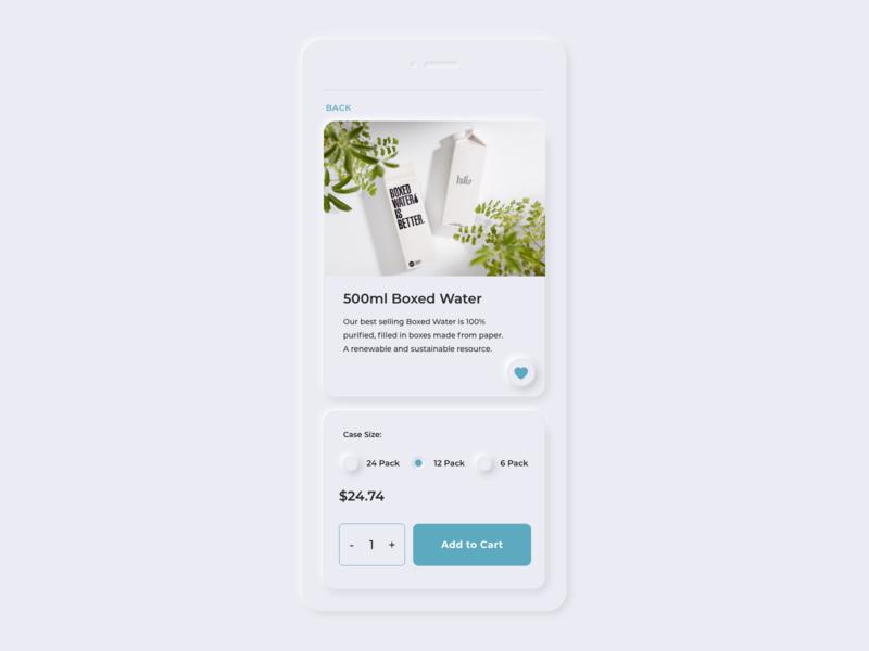 Neumorphism Boxed Water eCommerce App