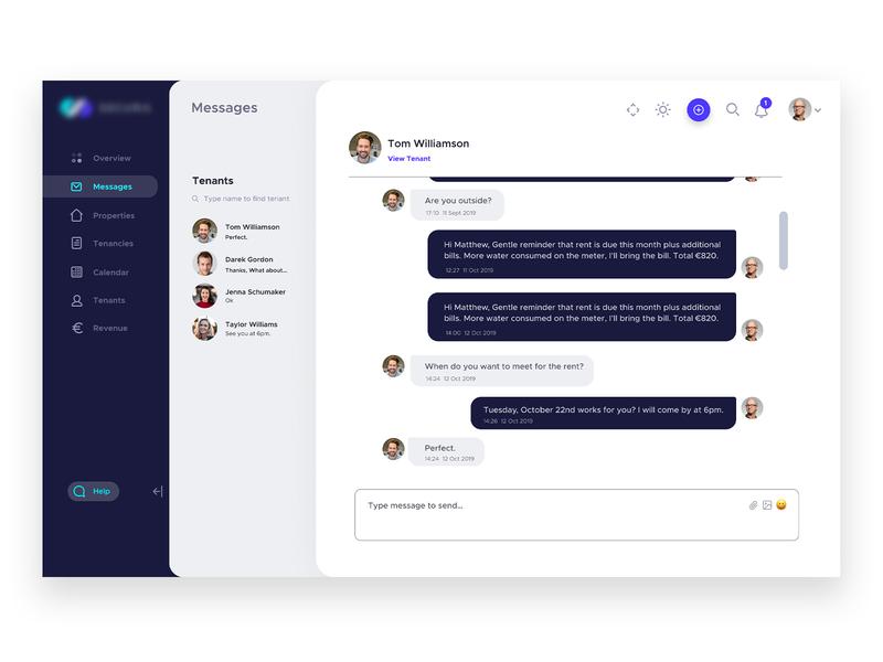 Dashboard Interface Design - Messages