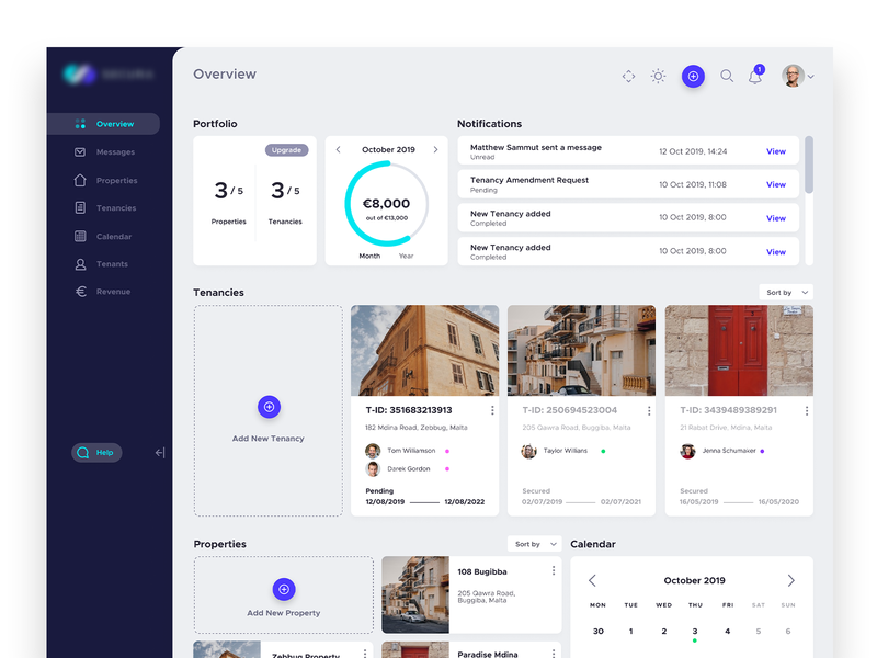 Dashboard App Interface - Overview