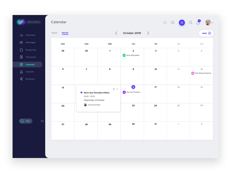 Dashboard UI - Calendar