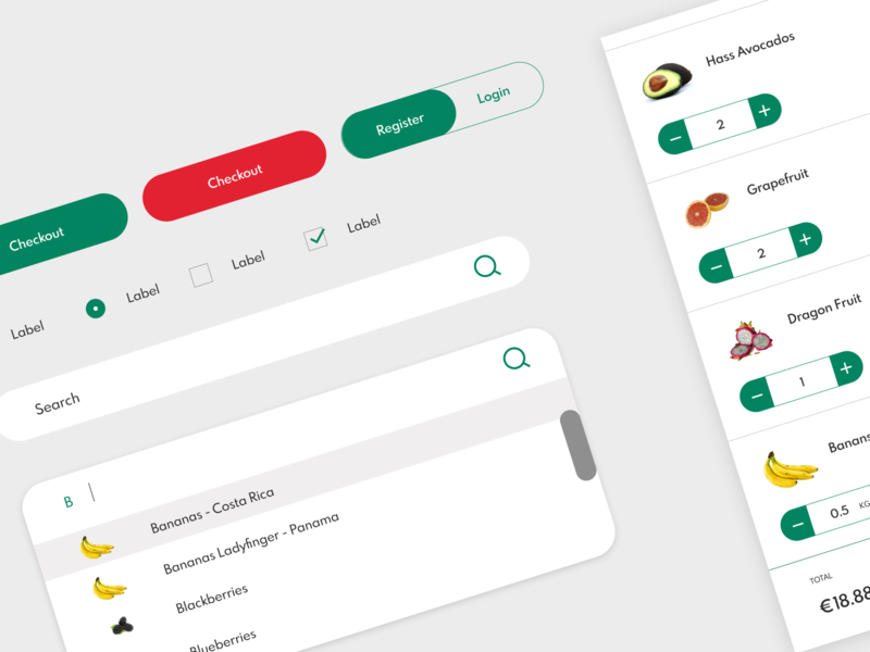 UI Components - Supermarket eCommerce predictions search bar user interface user interface design grocery store grocery app supermarket app fruit vegetable supermarket ui ux ui design ui components design systems component library component design components