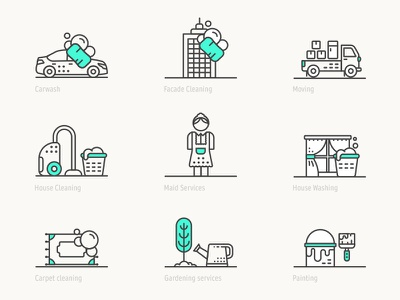 Home service app icon pack appicon app ui painting gardening maid carwash laundry home iconset icon pack icon