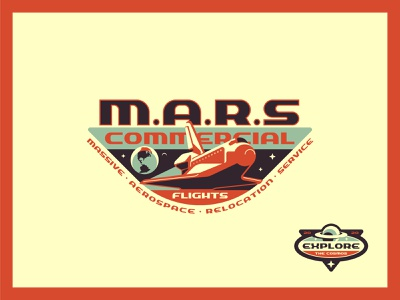 M.A.R.S icon shuttle space badge typography type