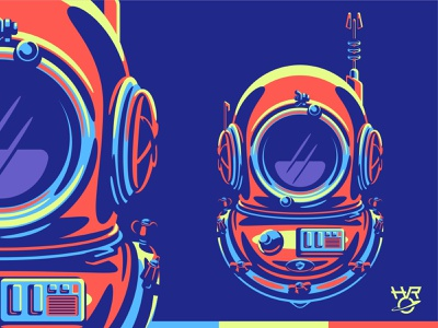 HRO Art vector graphic pop art illustration diver helmet