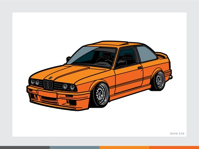 Tang E30 vector illustration cars e30 bmw