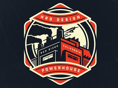 Design Powerhouse graphic superhero power plant badge powerhouse design