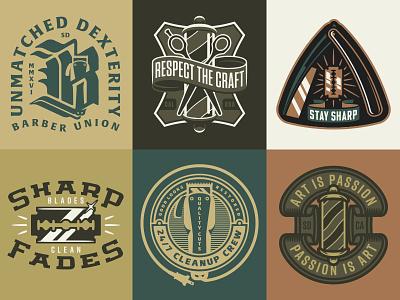 WIP Barbershop Inspired Graphics logo badge razor straight razor shears barbershop barber