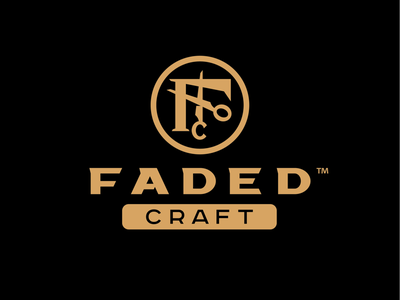Faded Craft Barbershop classy dapper monogram scissors logo barber barbershop