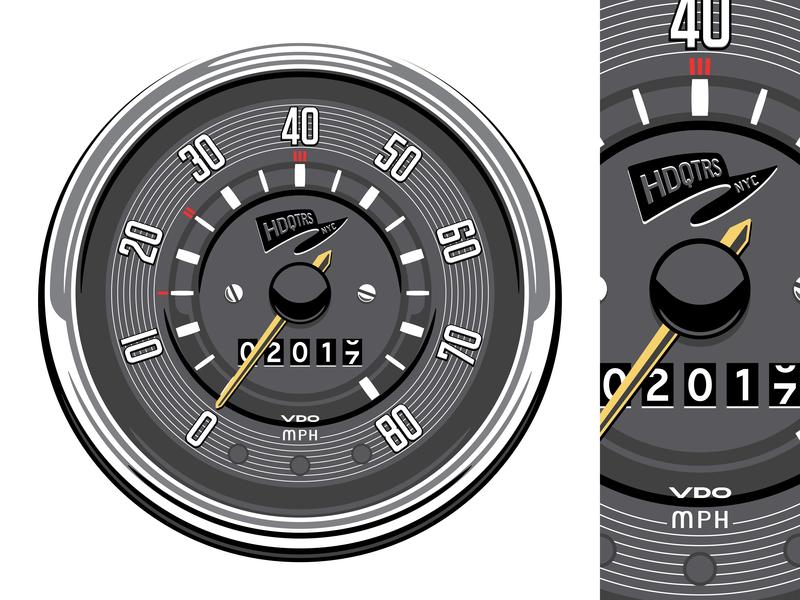 1960's VW Bus Speedometer illustration vector vw bus vw