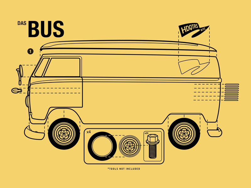 VW Bus Manual Style Graphic lineart vector illustration