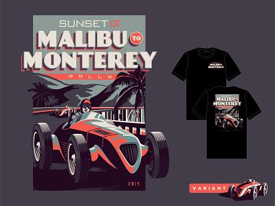 Malibu To Monterey 02 branding vintage car rally illustration cars